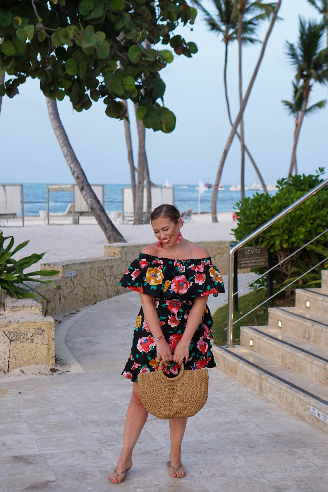 Who What Wear Target Floral Off Shoulder Dress Tropical Vacation Outfit Punta Cana Holiday Summer Palm Trees Beach