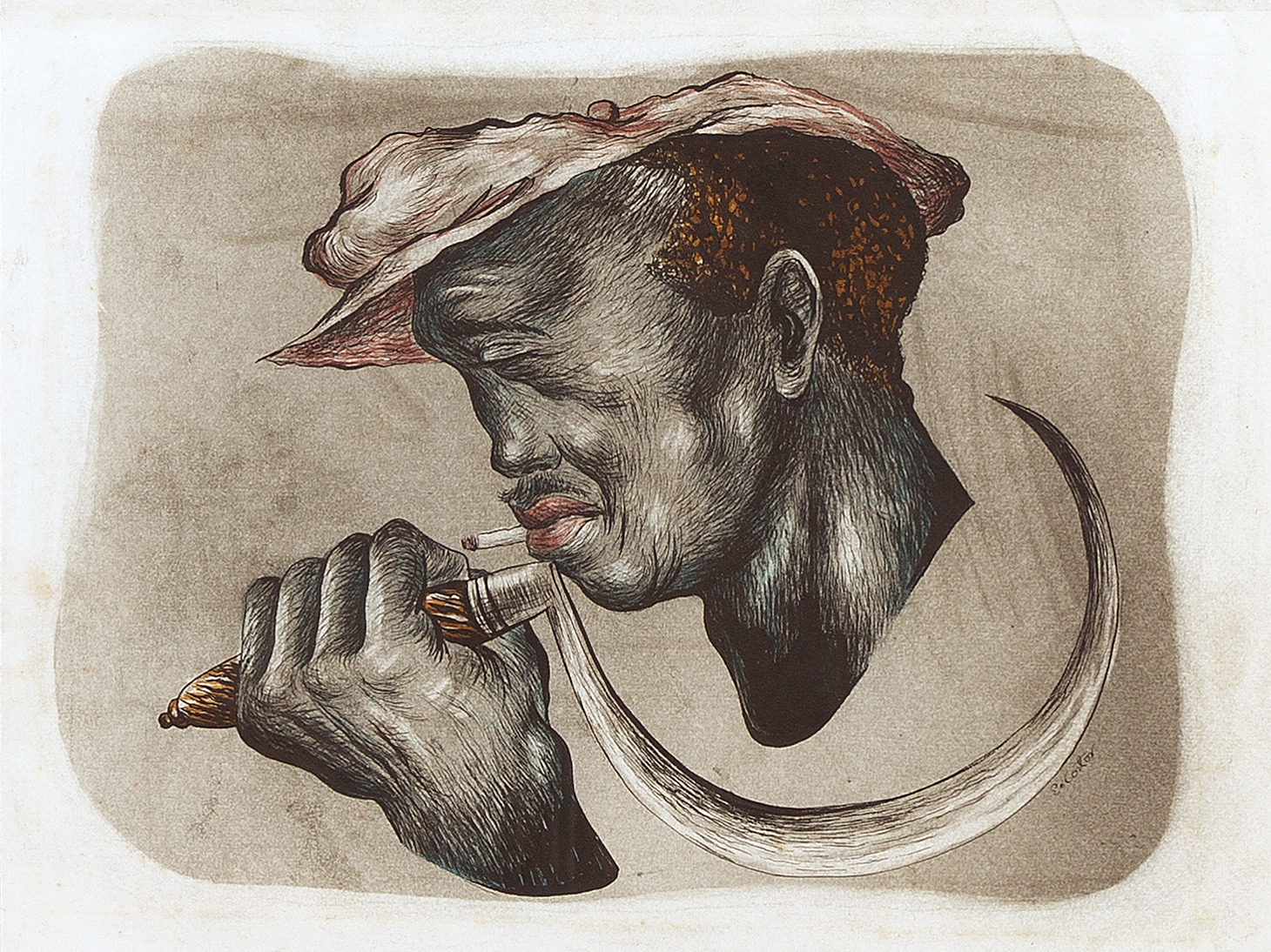 etching of man smoking