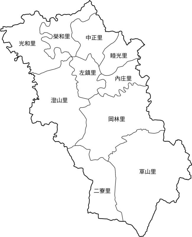 臺南市左鎮區行政區地圖-10里-有里名無底色