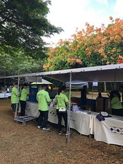 Employees from Hawaiian Electric volunteered at the 30th Annual Halawa Xeriscape Garden's Plant Sale: Volunteers up bright and early to set up our Hawaiian Electric booth.