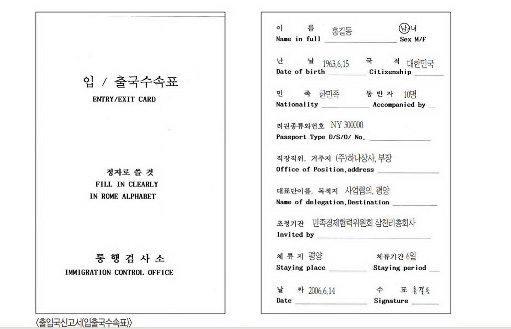 NK Entry/Exit card
