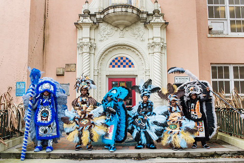 Wild Opelousas Big Chief Tycen, Big Queen Regine, Flag Boy Tory, Little Queen Cass, Princess Amiya, and Spy Boy Kyllon in front of Martin Behrman Charter school on Febuary 8, 2017. Photo by rhrphoto.com.