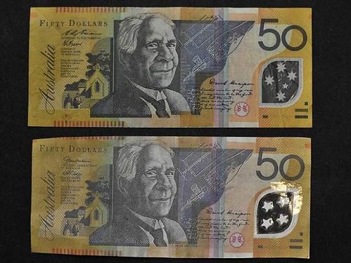 Counterfeit Australian $50 note