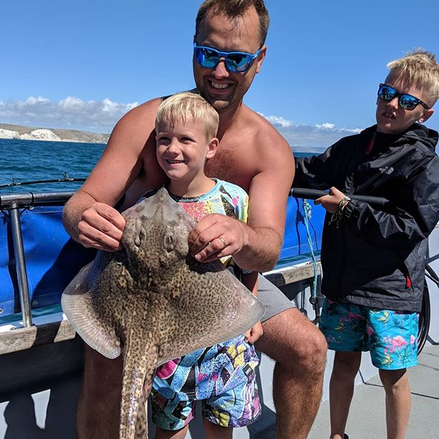 First ever fish for the youngest on the boat today #amarisaweymouth #thornbackray #fishinguk #fishingtrip