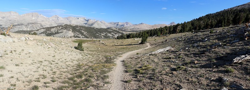 Up in the Bighorn Plateau south of Tyndall Creek, looking north on the John Muir Trail