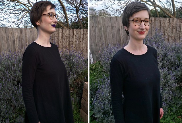 Two images of a woman standing in front of a garden fence, wearing nearly identical black dresses. She showcases the differing shoulders.