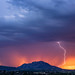 Sunset Lightning Over Granite Mountain by TreeRose Photography
