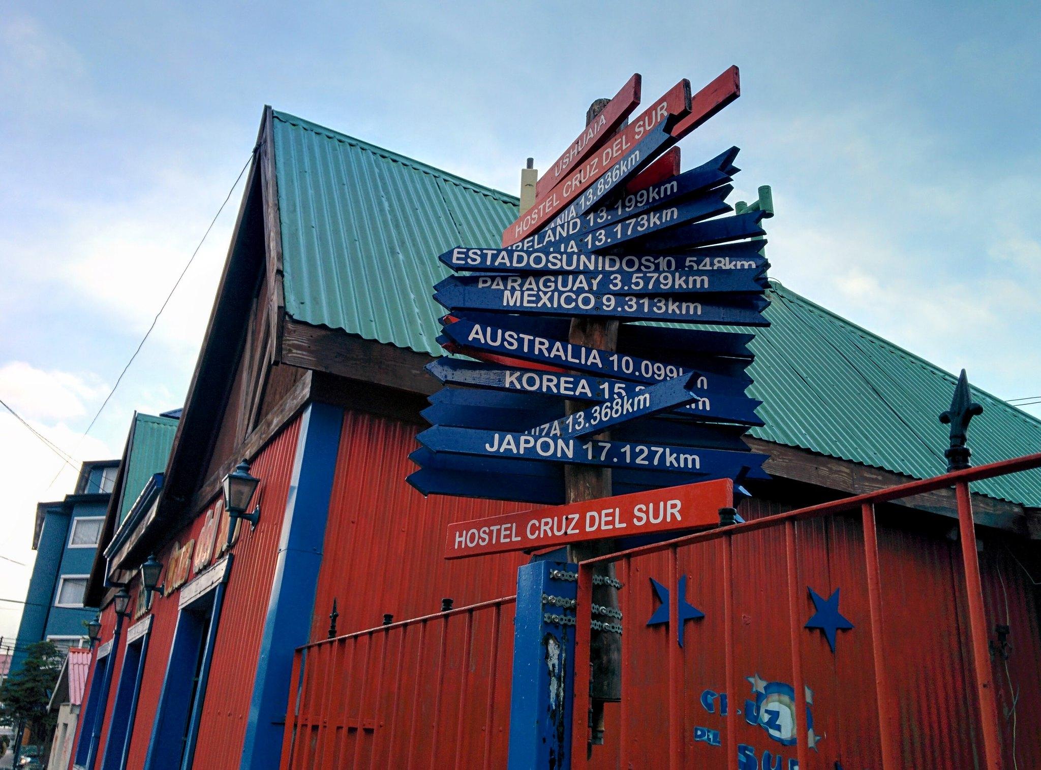 A sign outside Hostal Cruz del Sur