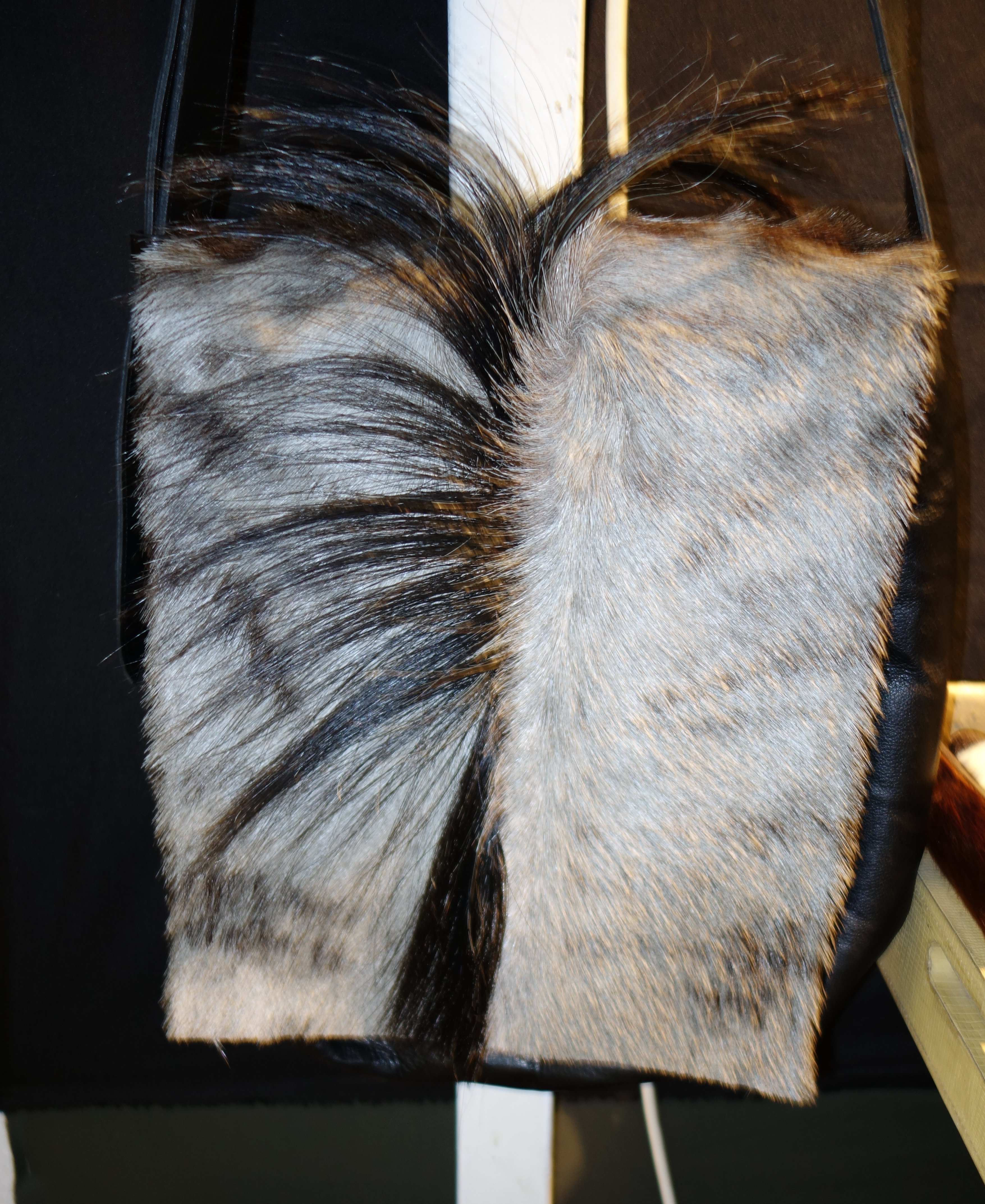 Bag made with wildebeest skin