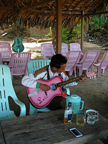 Guitar Café, with guitars that anyone can pick up and play, by U Bien Temple in Myanmar