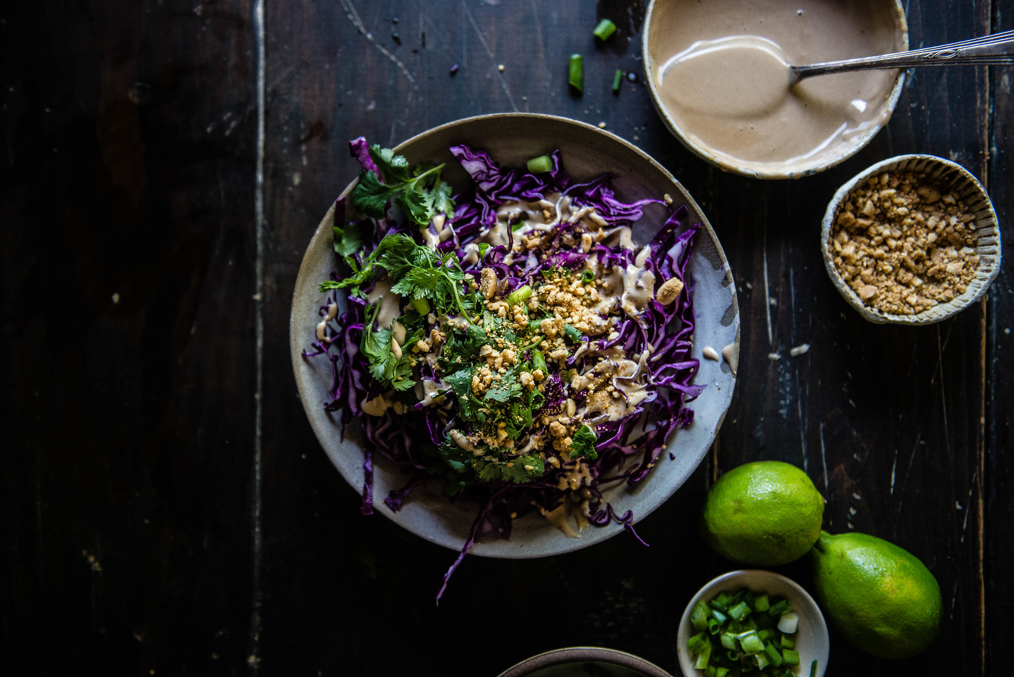 red cabbage slaw with peanuts and dukkah