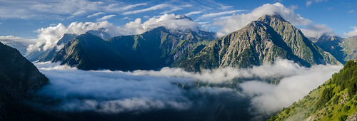 Morning Mist over Vénéon Valley - panorama