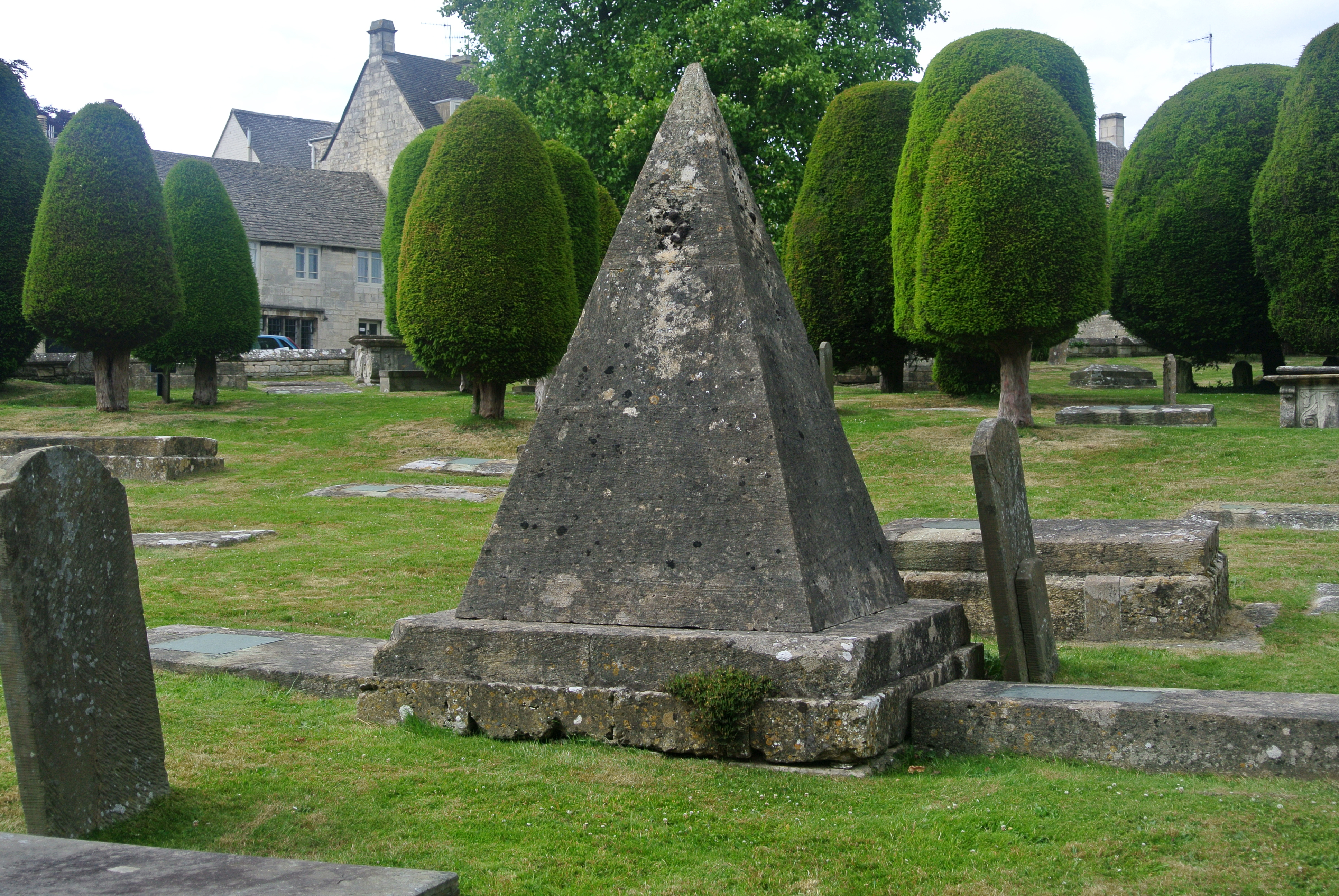 Pyramidal tomb of the stonemason John Bryan in Painswick, Gloucestershire. Photo taken on June 25, 2015.