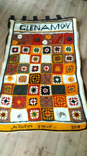 Granny squares wall hanging