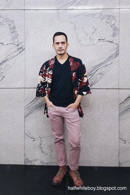 halfwhiteboy - printed kimono cardigan and old rose pants 04