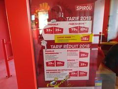 Parc Spirou Price Board July 2018