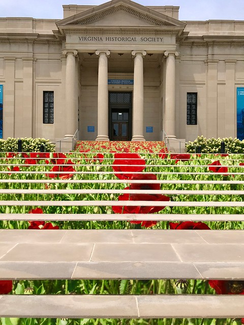 Local museum has a WWI exhibit, and they have made their staircase into a picture of poppies.