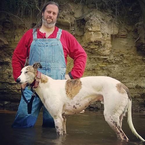 Adventurers. #Cane #dogsofinstagram #greyhound #greyhoundsofinstagram #overalls #dungarees #biboveralls #vintage #gap #gapoveralls #ootd #denimoveralls #overallsarelife #hunterscreekpark #wny #eastaurora #nature #hiking #stream #runningwater