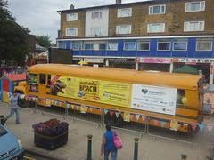 Northfield Beach on Price's Square - yellow American school bus