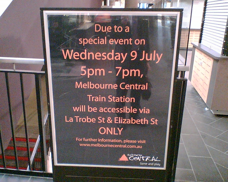 Melbourne Central event to close main station entrance, July 2008