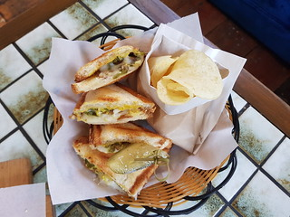 Cheese, sausage, pickle, mustard, jalapeno jaffle at Fitz & Potts