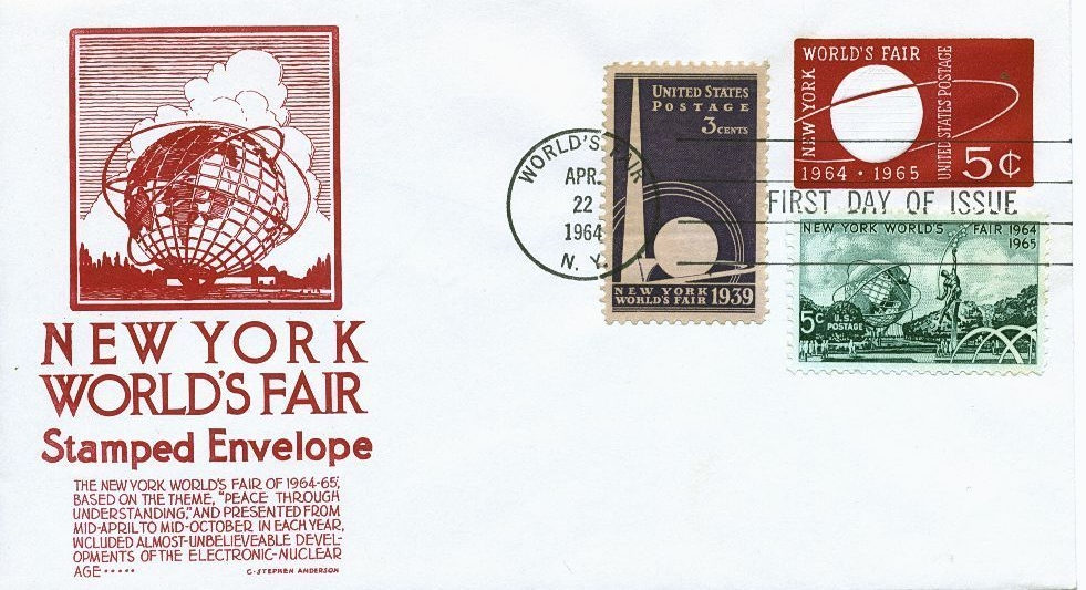 United States - Scott #U546 (1964) - first day cover also containing U.S. Scott #853 (1939) released on April 1, 1939 for the 1939-1940 New York World's Fair; and U.S. Scott #1244 (1964).