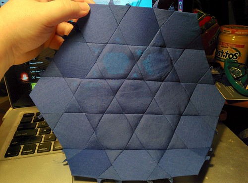 This hexagon forms the center of the tiling; it will be surrounded by six square units and six triangle units, and that will complete the project.