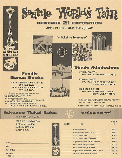 Order form for Seattle World's Fair admission tickets.