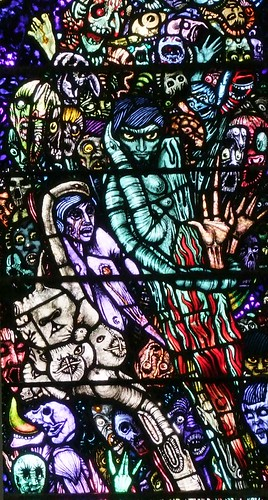 Newport, County Mayo, St Patricks Church, Harry Clarke stained glass, purgatory