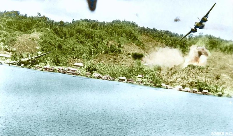 During an air attack on a Japanese seaplane base and barge landing at Kokas, Enga, Dutch New Guinea,