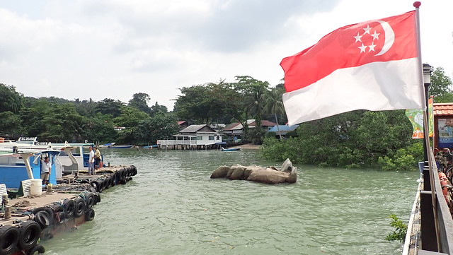 Pulau Ubin Jetty dressed up for National Day with flags