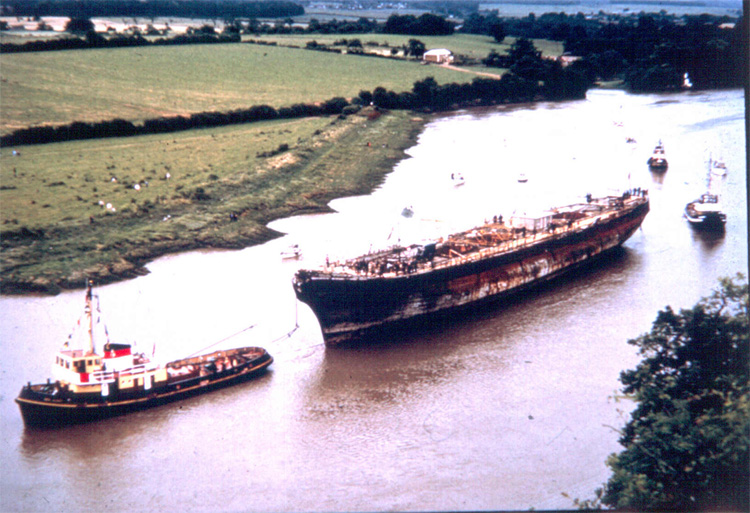 SS Great Britain approaches Bristol under tow on July 5, 1970.