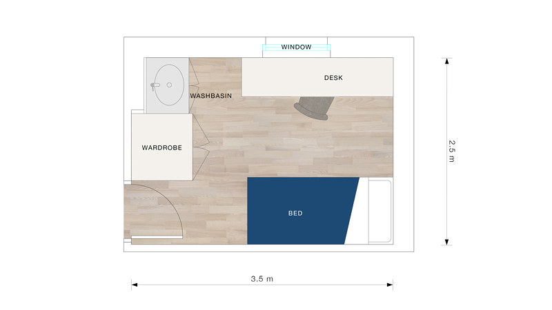 A floor plan for a standard bedroom in Eastwood with a washbasin