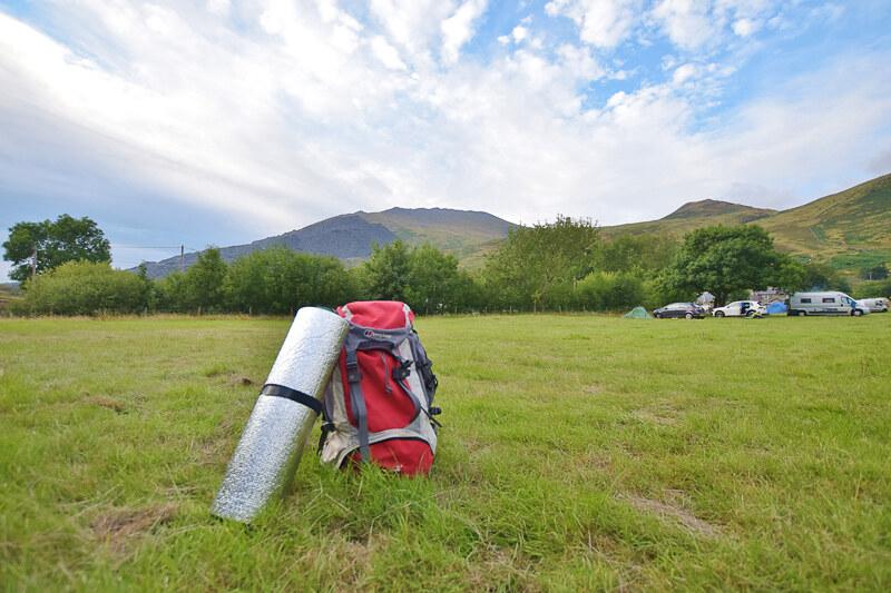 Basic camping gear - Nant Peris campsite Snowdonia
