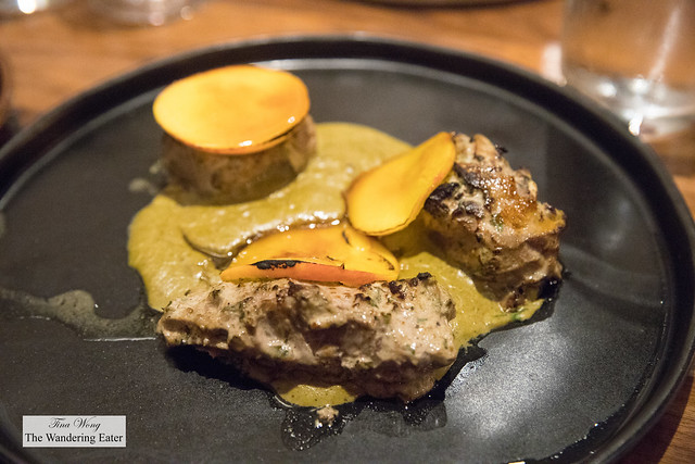 Lamb loin kebab, pistachio salan, epazote, caramelized peach
