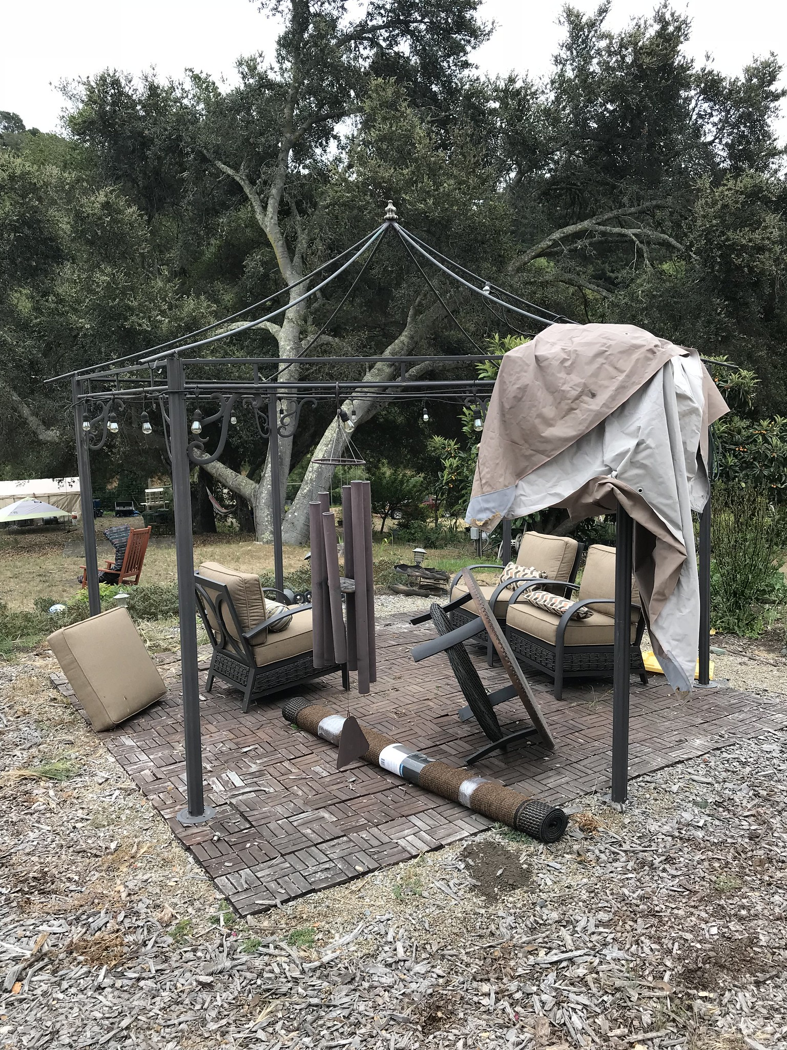 Putting the canopy on the gazebo
