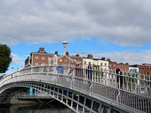 The Ha'penny Bridge in the Temple Bar District of Dublin, Ireland