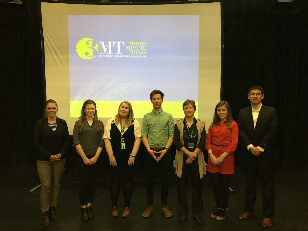 This photo depicts the 3MT finalists who will go through to the final on Thursday 5 June.
