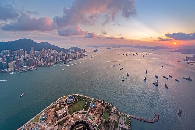 Sunset at West Kowloon, Hong Kong
