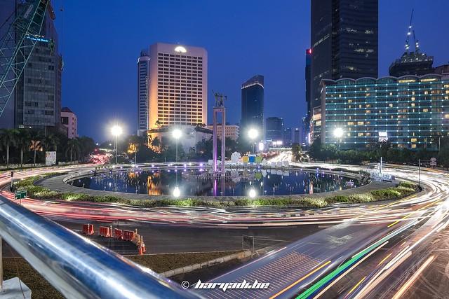 Bundaran Hotel Indonesia light trails