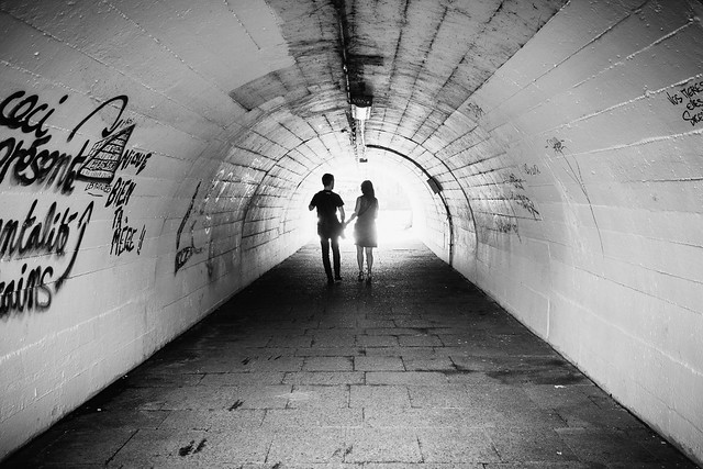 Couple in tunnel