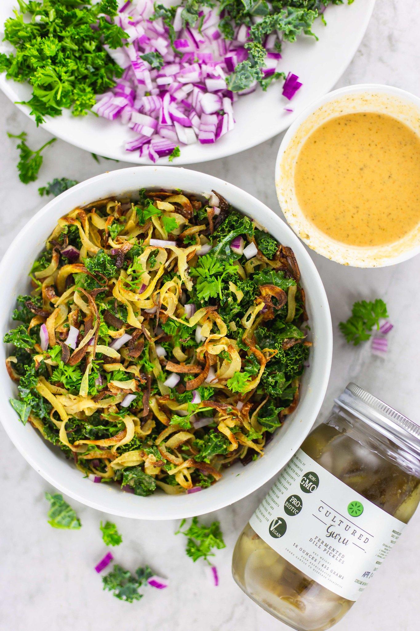 Vegan Healthy Potato Salad | Potato Salad Recipe with Fermented Dill Pickles
