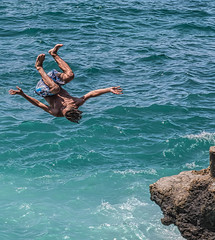 Teens Diving Off Rocks on Beirut's Rocky Shore
