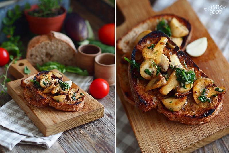 Bruschetta di porcini e fettunta all'aglio — брускетта с грибами и чесночным хлебом