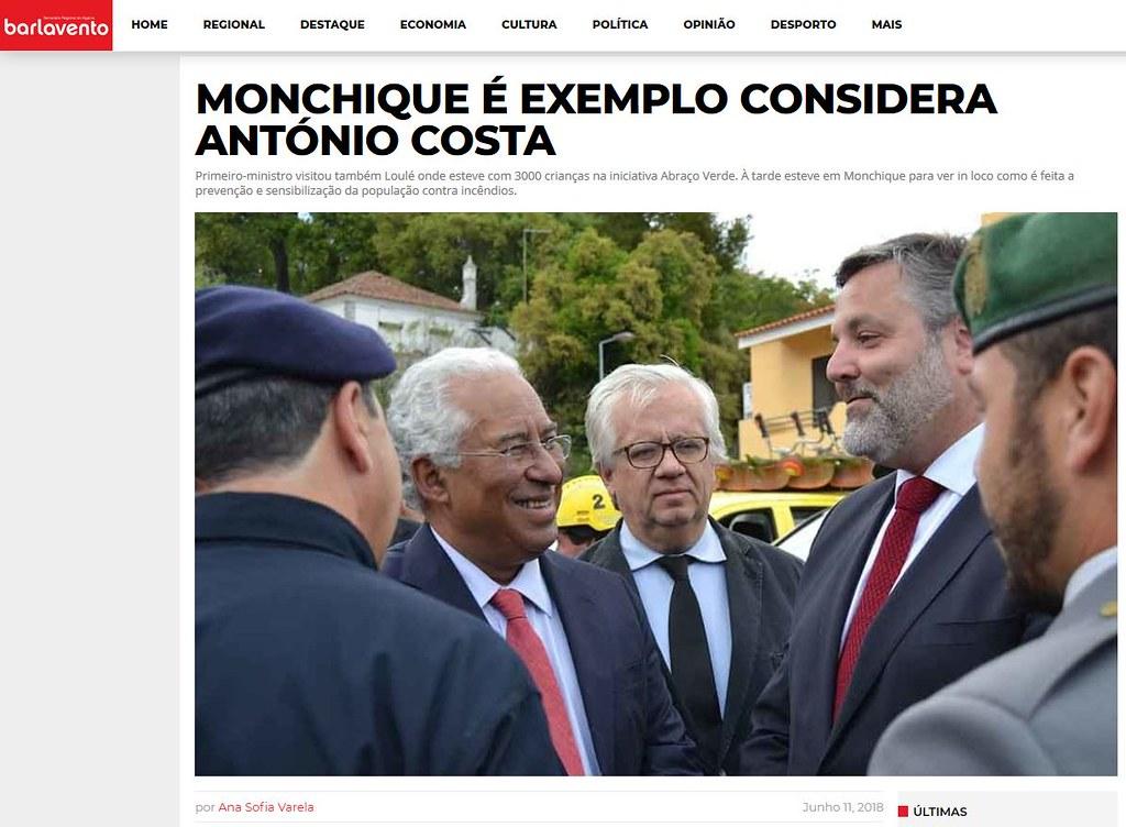 Ana Varela, «Monchique é exemplo, considera António Costa» (Barlavento, 11-6-2018)