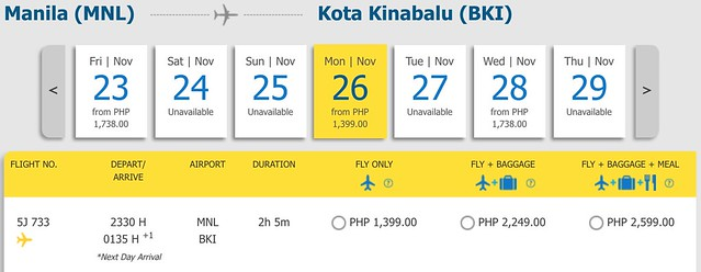 Cebu Pacific Pay Day Fly Day Sale Manila to Kota Kinabalu