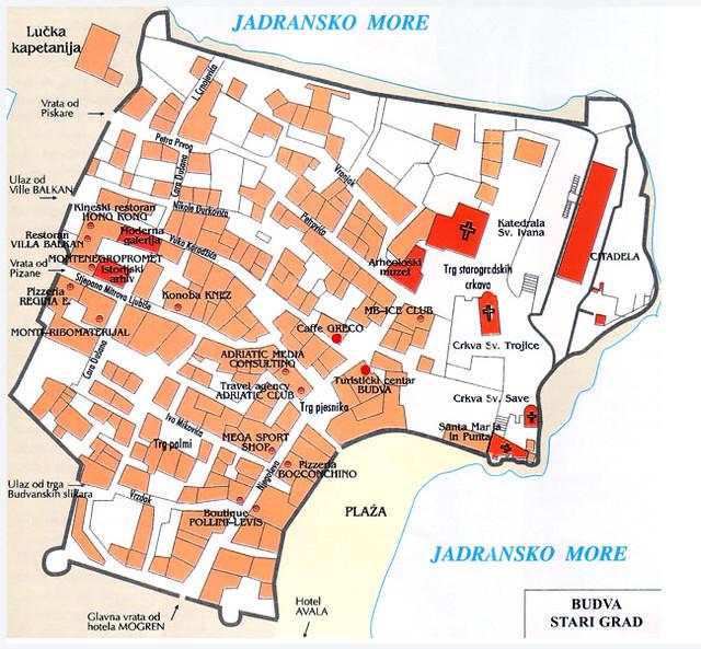 Туристическая карта Старого города Будвы