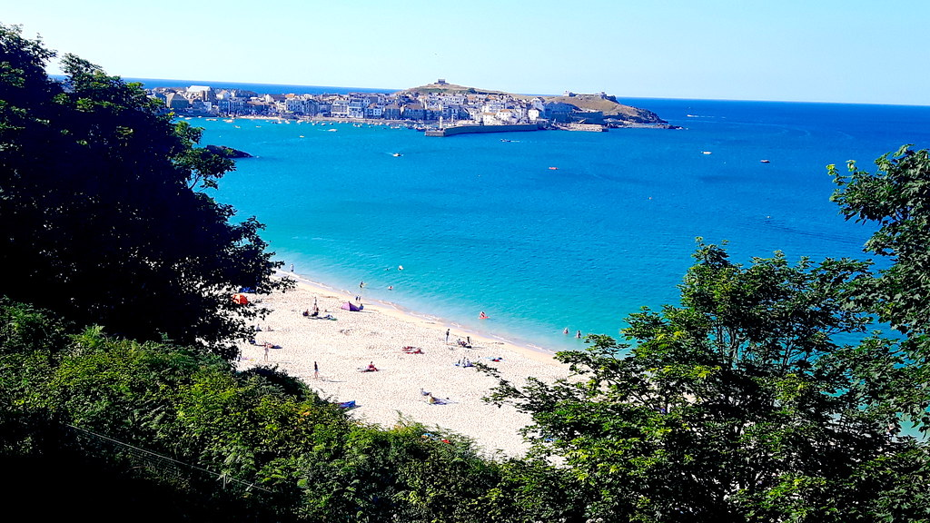 Porthminster beach with St Ives harbour, Cornwall