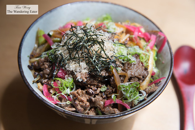 Bulgogi Don - Kobe Strip loin, Roasted green market vegetable, sweet soy