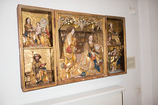 Religious tableau with carvings
